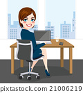 Woman Sitting Working Office 21006219