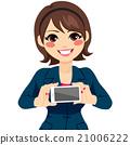 businesswoman, smartphone, holding 21006222