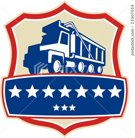 Triple Axle Dump Truck Stars Crest Retro 21007059