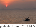 fishing boat on sea in the evening and sunset. 21013072