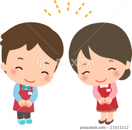 一个男人和一个女人在围裙笑着鞠躬 21015212