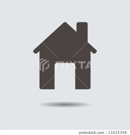Icon gray house with shadow. Vector illustration. 21015348