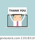 Businessman holding Thank you sign in computer 21018310