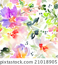Seamless pattern with flowers watercolor. 21018905