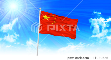 Chinese flag sky background 21020626