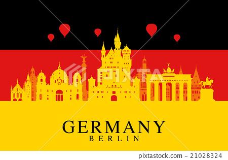 Germany flag, Berlin travel landmark. 21028324