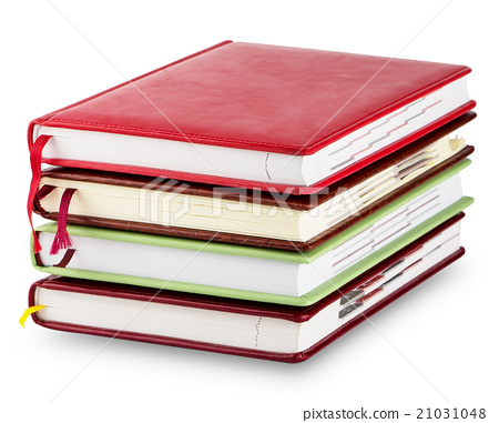 Stack of colorful diary with bookmarks 21031048