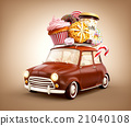 chocolade car with sweets and coffee on top. 21040108