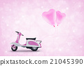 Pink scooter toy with pink heart love balloon 21045390