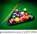 Billiard balls pool on green table 21057206