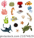 Sea Life Cartoon Icons Set 21074629