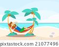 Casual Man Lying In Hammock Seascape Beach 21077496