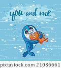 card, cartoon, seal 21086661