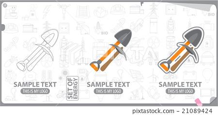 Mining tools, shovel and pickaxe logo 21089424