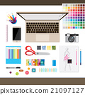 Top view of  fashion designer white desk with tool 21097127