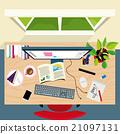 Top view of graphic designer concept desk 21097131