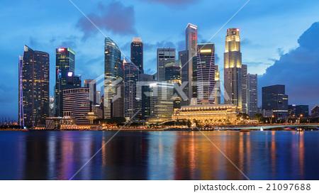 Singapore business district skyline 21097688