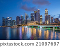 Colorful Singapore business district skyline. 21097697