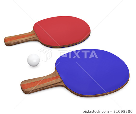 Two ping-pong rackets and ball  21098280