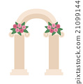 Wedding arch with pink roses vector.  21099144