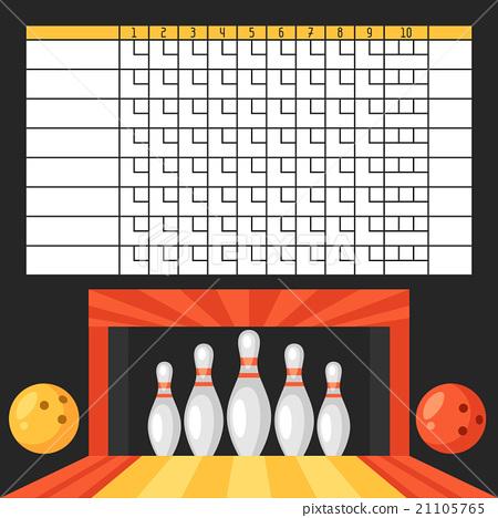 Bowling score sheet. Blank template scoreboard 21105765