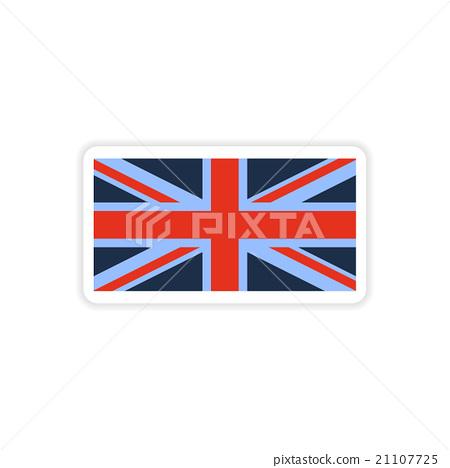 paper sticker British flag on white background 21107725