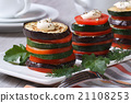 baked zucchini, tomatoes and aubergines 21108253