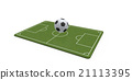 3D image of a soccer ball on a soccer field 21113395