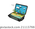 3D image of a beach in a luggage 21113766