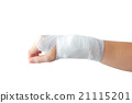 Injured painful hand with white gauze bandage. isolated on white 21115201