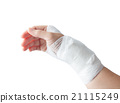 Injured painful hand with white gauze bandage. isolated on white 21115249