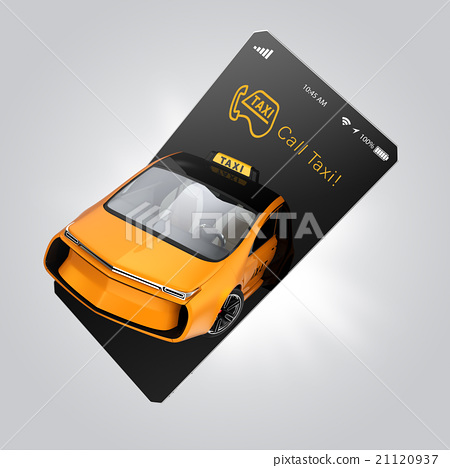 A yellow taxi that jumps out of the smartphone  Taxi