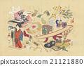 """古董插圖川崎真美(1877-1942)""""玩具圖片:六月玩具"""" 21121880"""