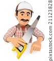 3D Carpenter with saw pointing down. Blank space 21123828