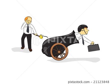 businessmen wearing helmet in cannon cartoon 21123848