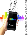 Hand holding smart phone with music notes 21123868