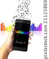 Hand holding smart phone with music notes 21123869