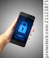 Hand holding Smartphone lock screen 21123873