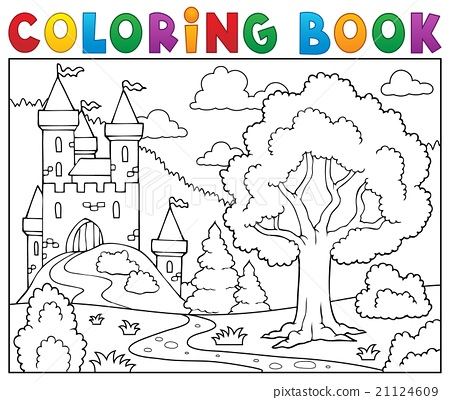 Coloring book castle and tree 21124609