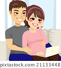 pregnant, couple, sitting 21133448