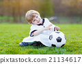 Kid boy playing soccer with football  21134617