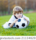 Kid boy playing soccer with football  21134620