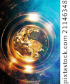 Planet earth in light circle with light triangle 21146348