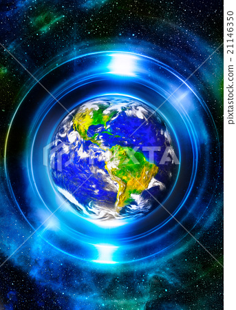 Planet earth in light circle, Cosmic Space 21146350