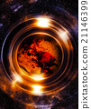 Planet earth in light circle, Cosmic Space 21146399