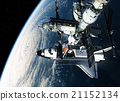 Space Station And Shuttle Orbiting Earth 21152134