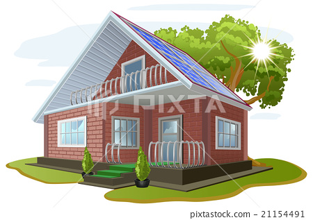 Solar energy. Caring about environment. House with 21154491