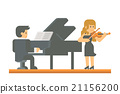 Flat design piano and violin duet 21156200