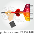 Businessman hand with dart and doodles icons. 21157408