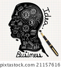 Business doodles Ink shaped people head on paper.  21157616